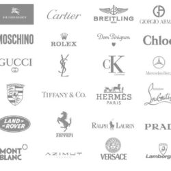 Assortment of logos of luxury brands used to talk about luxury management in SP Jain as one of the top MBA programs