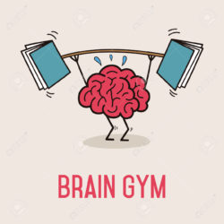 Humorous portrayal of a brain working out using books as weights used in an article suggesting tips for improving reading comprehension for CAT exam