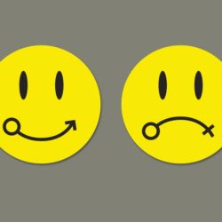 Happy and sad smileys to depict male and female genders respectively used in article about gender diversity in IIMs