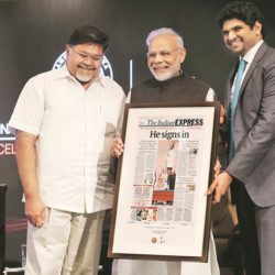 Prime Minister Narendra Modi felicitating the leaders of The Express Group